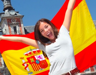 Girl with Spanish Flag