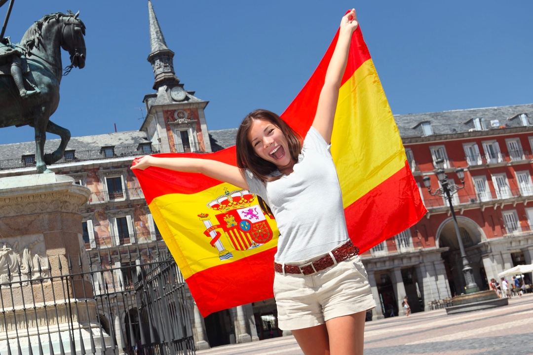 Girl with flag in Spain